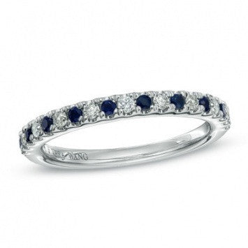 0.87 CT. Diamond and Blue Sapphire Wedding Band in White Gold