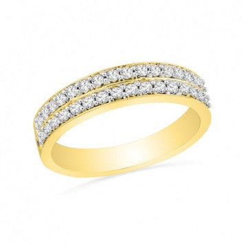 0.66 CT. Diamond Double Wedding Band in Yellow Gold
