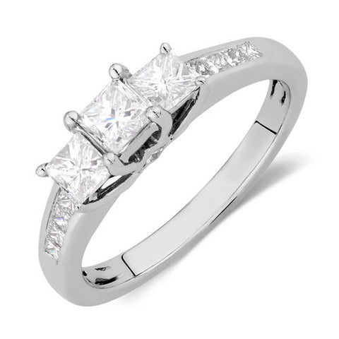 1.00 CT. Three Stone Princess Cut Diamond Engagement Ring in 14K White Gold