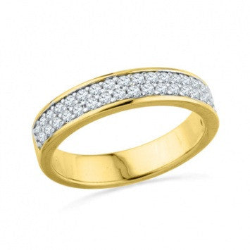 0.75 CT. Diamond Double Row Wedding Band in Yellow Gold