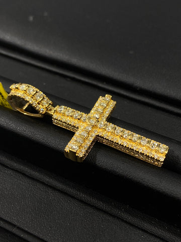 2.24CT. Cross Diamond Pendant in 10K Yellow Gold