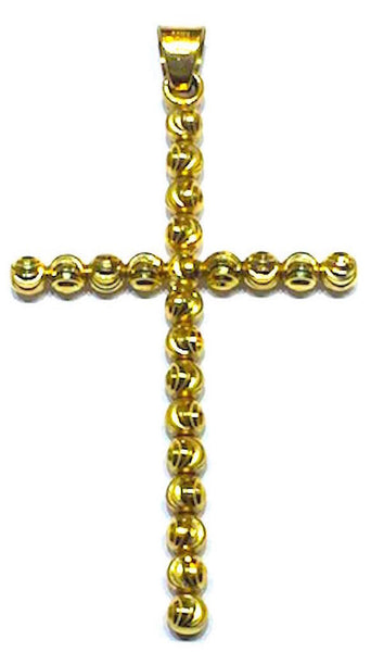 10K Gold Cross with Moon Cut Design