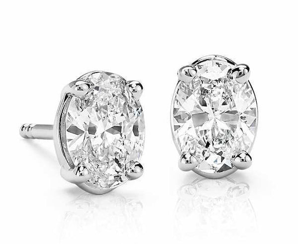 0.50 CT. - 1.00 CT. Oval Diamond Studs in 14K White Gold