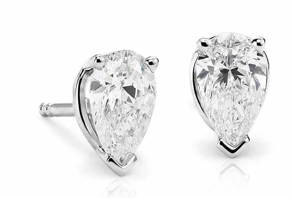 0.50 CT. - 1.00 CT. Pear Diamond Studs in 14K White Gold