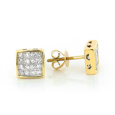1.00 CT. Princess Invisible Set Diamond Earrings in 14K Gold