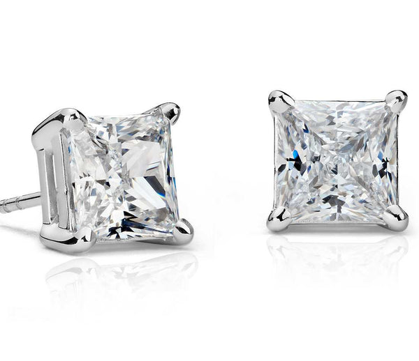 1.00 CT. Princess Diamond Studs in Gold or Platinum