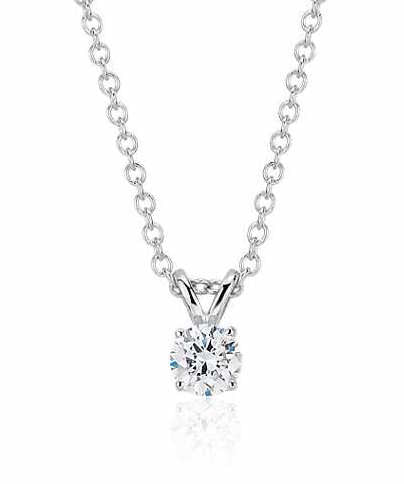 1/4 CT. Diamond Solitaire Pendant in 14K White Gold
