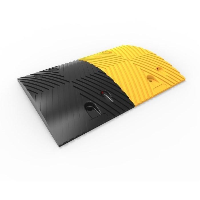 Black & yellow rubber traffic speed hump