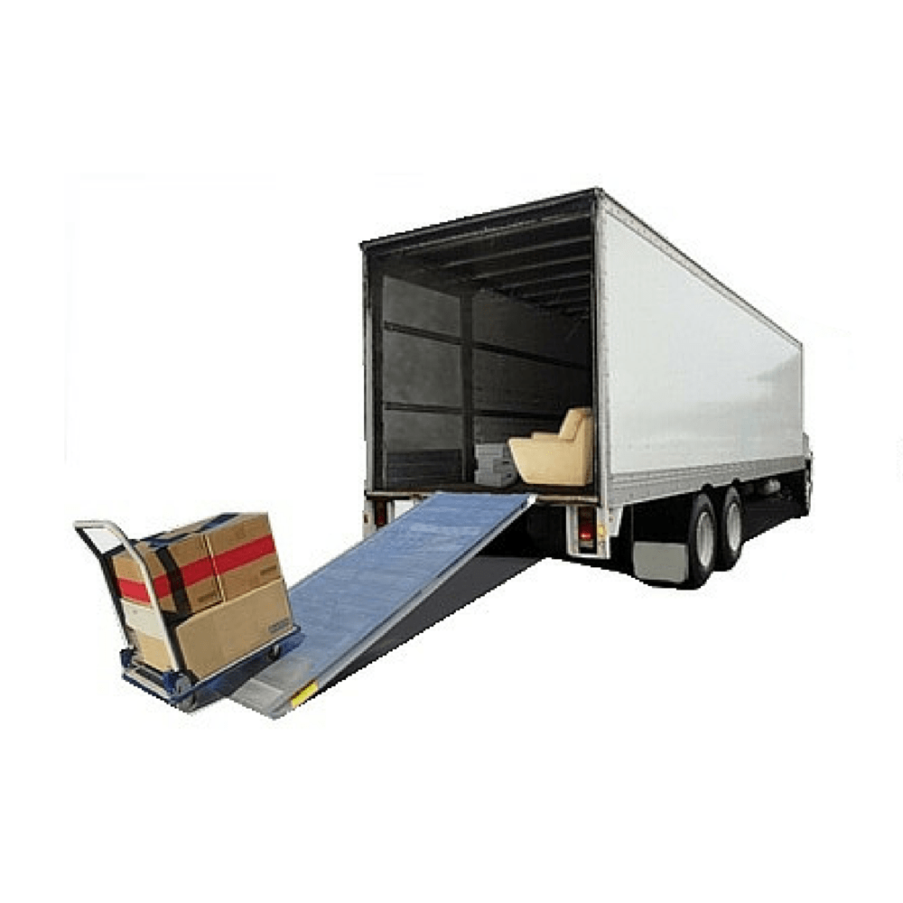 Removalist walk ramp on truck with trolley and boxes