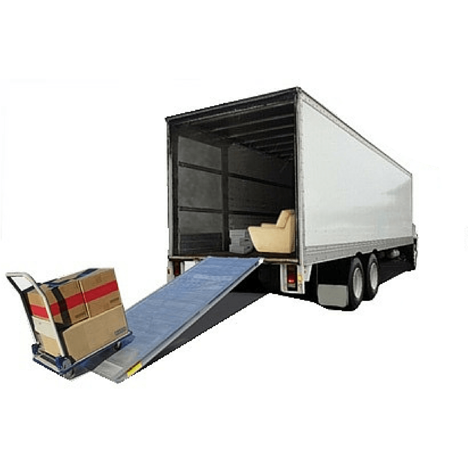 pantech truck with removalist ramp and trolley loading boxes