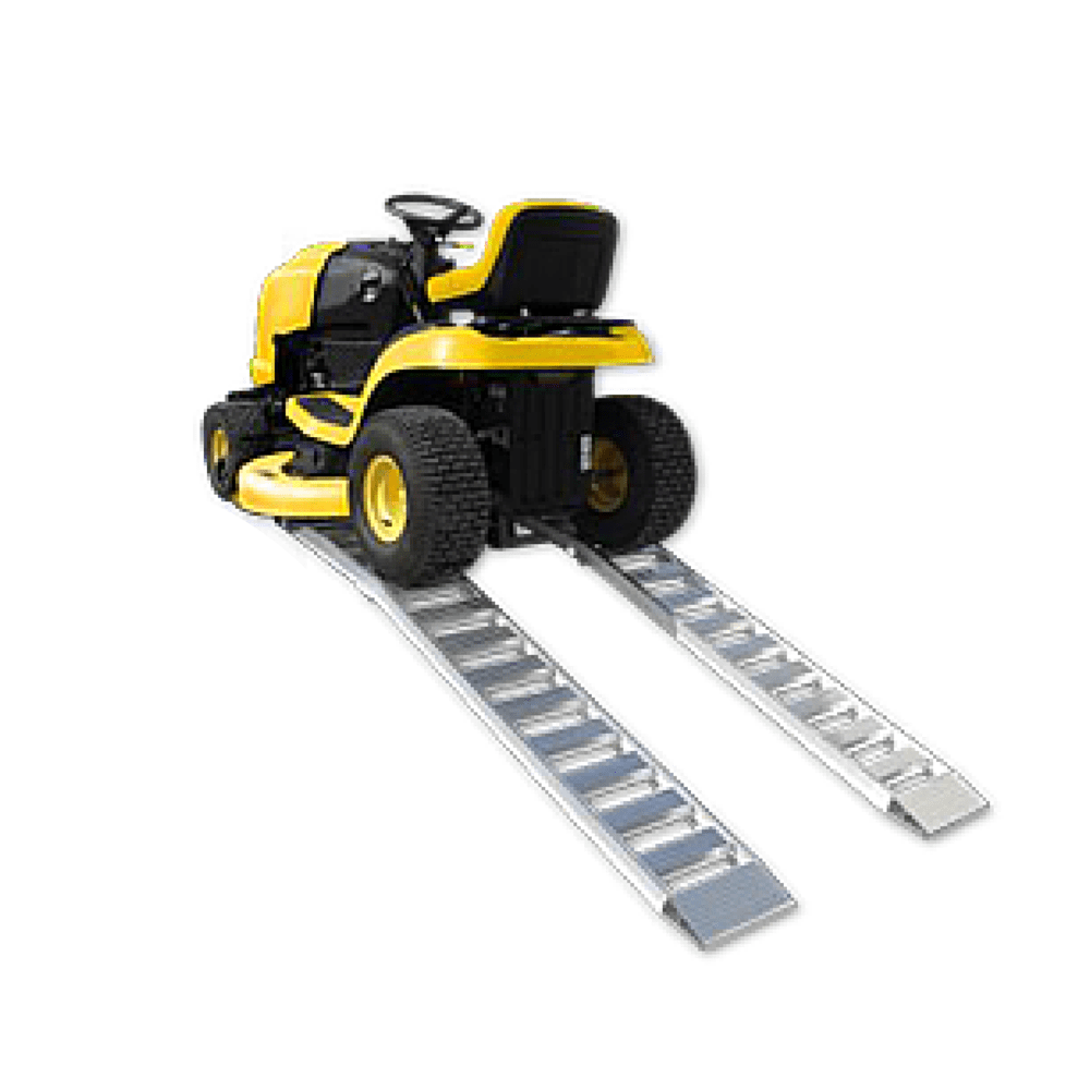 Yellow lawn mower on aluminium loading ramps