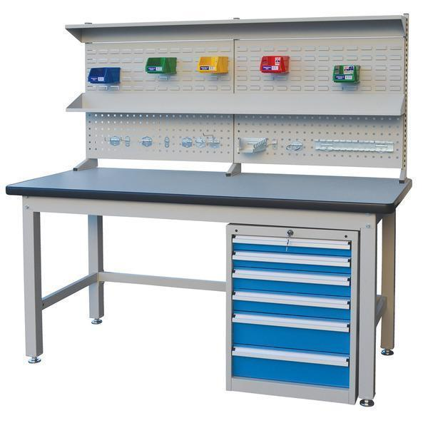 workshop bench with drawers and tool area