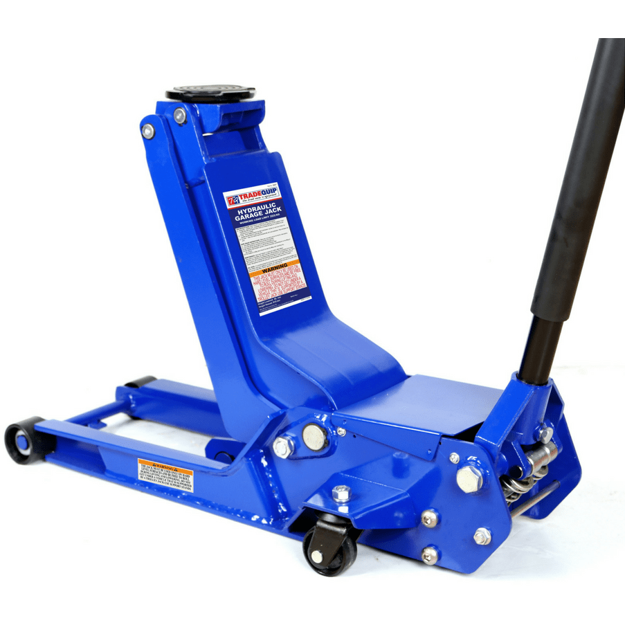 blue under car low profile hydraulic jack