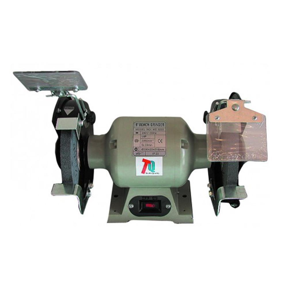 tradequip bench grinder - light green with covers