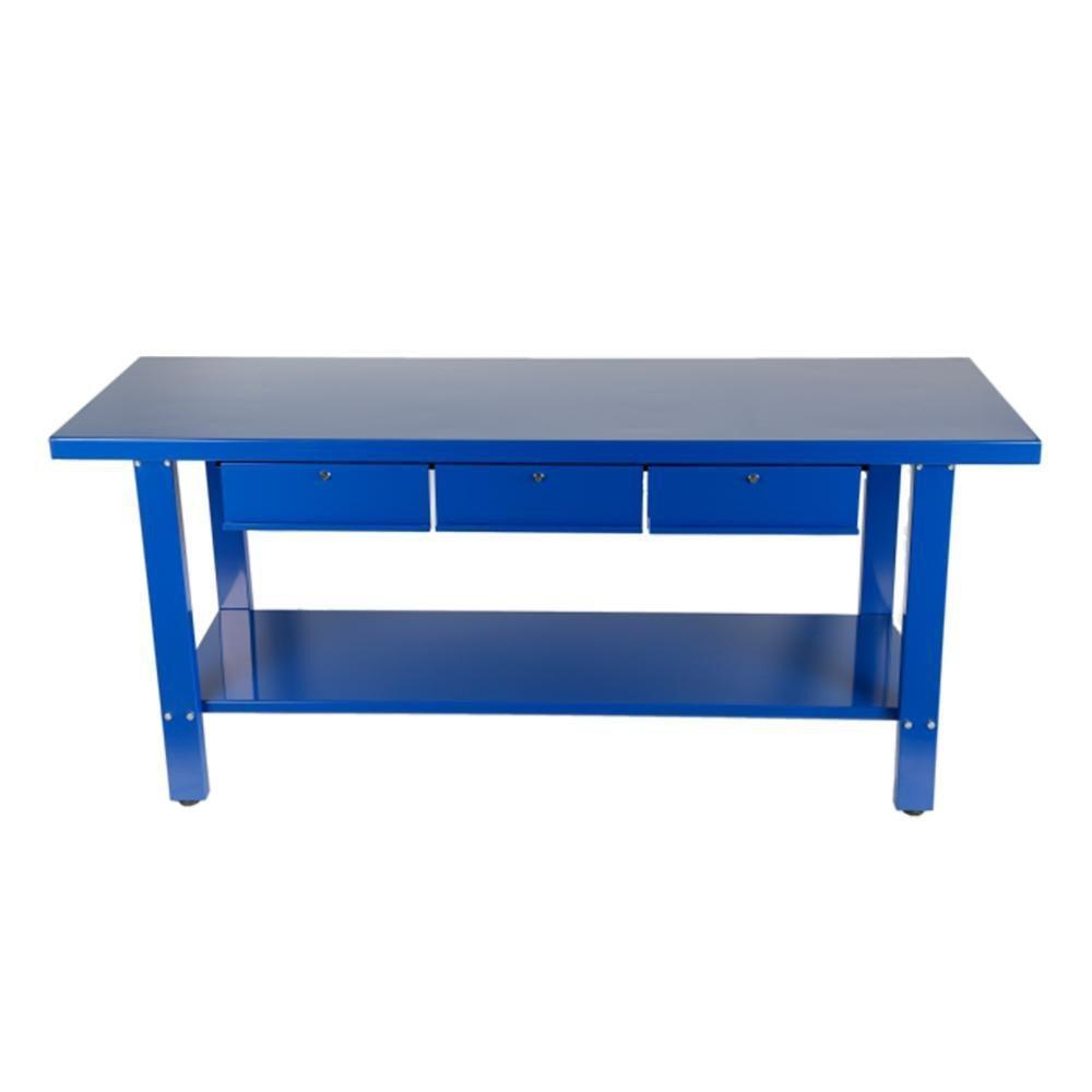 blue steel workbench with three draws