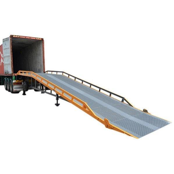 Forklift loading dock yard ramp with truck