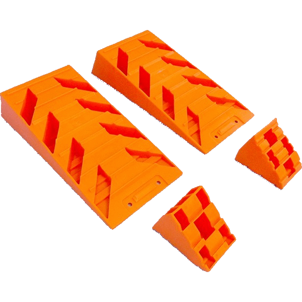orange caravan levelling ramps & wheel chocks