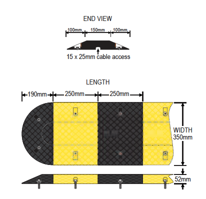 Barrier Group Economical Rubber Speed Hump specifications image with dimensions