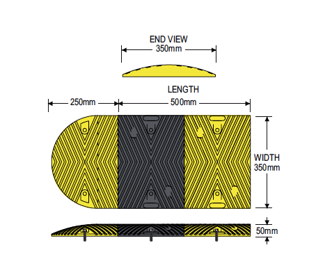 Barrier Group Traffic Calming Round Rubber Hump specs