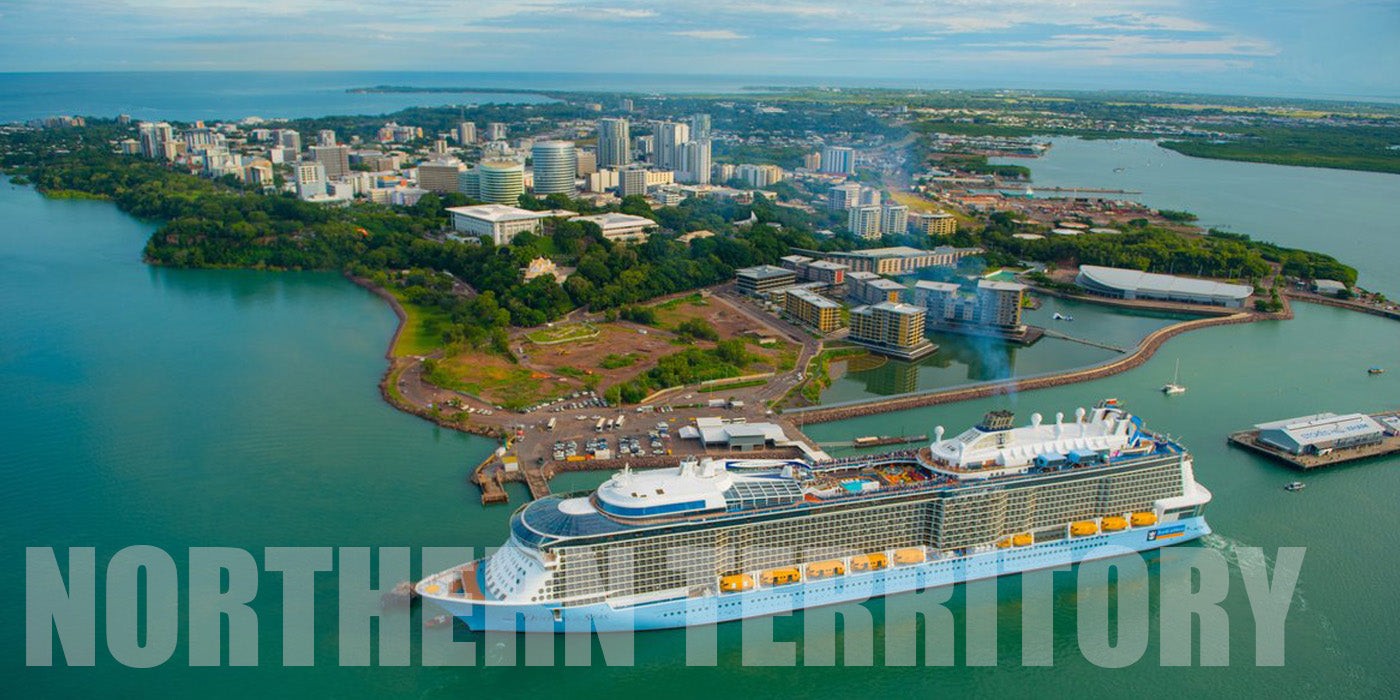Aerial view of Darwin, Northern Territory with a cruise ship on its shore