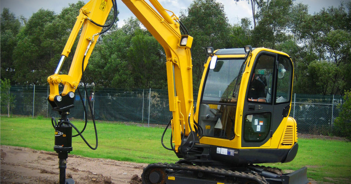 image of an excavator in a construction site