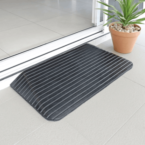 Heeve Solid Rubber Wheelchair Threshold Door Ramp With Winged Edges