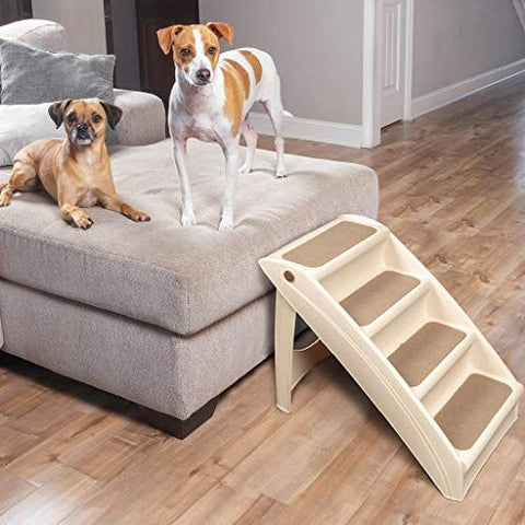 2 Dogs sitting on a bed with pet stair