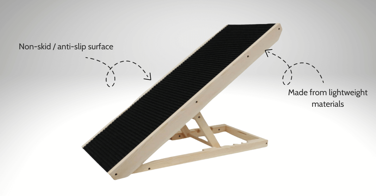 """Heeve """"Up-Ya-Get"""" Wooden Dog Ramp for Bed and Couches Charcoal with anti-skid and lightweight features"""