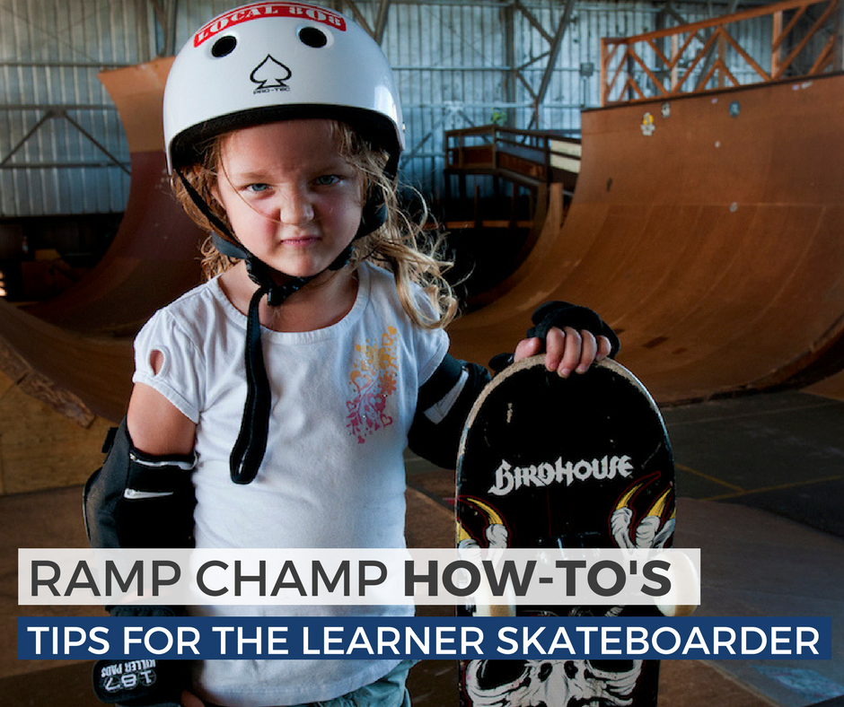 Young girl with helmet and pads at skate park - Tips For The Learner Skateboarder blog post image
