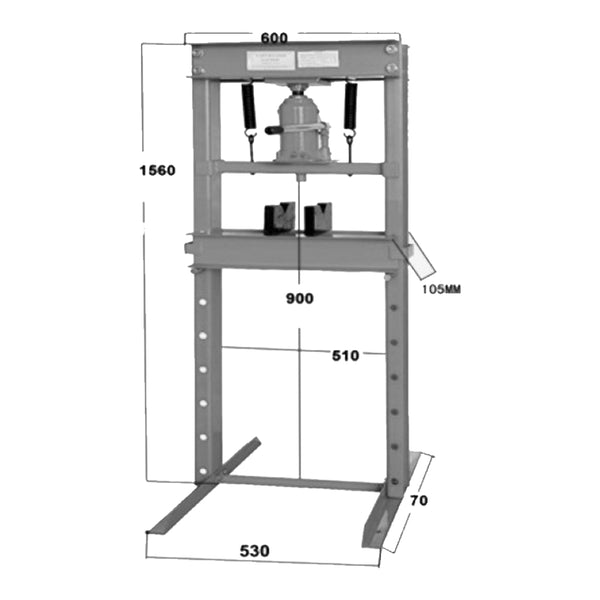 TradeQuip Professional 20,000kg Hydraulic Press Drawing and Dimensions