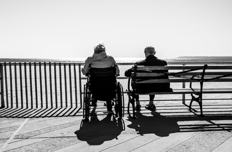 Two people facing a bridge one on a wheelchair the other one sitting on the bench