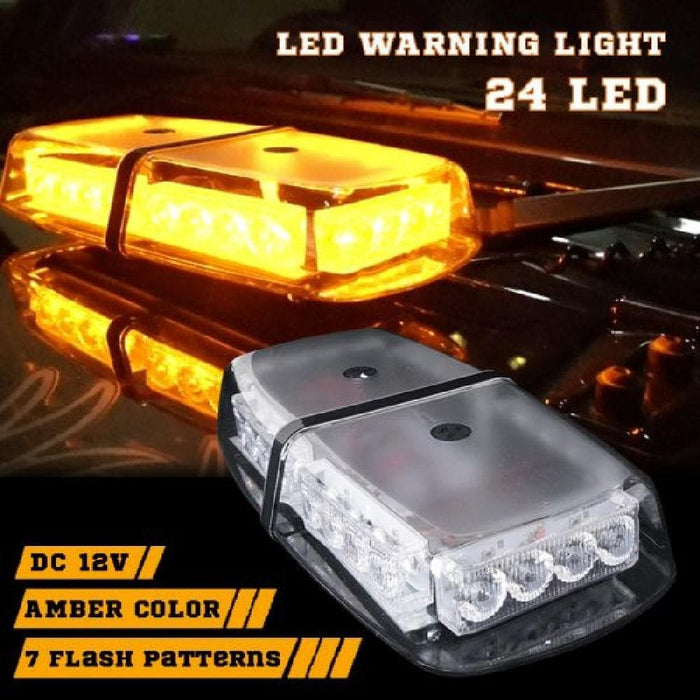 Amber 12v LED Warning Flashing Light with Magnetic Base - Clear - Ramp Champ - Ramp Champ