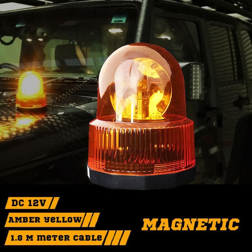 Amber 12v Revolving Warning Flashing Light with Magnetic Base - Ramp Champ - Ramp Champ