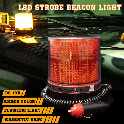 Amber 12v LED Warning Flashing Light with Magnetic Base - Round - Ramp Champ - Ramp Champ
