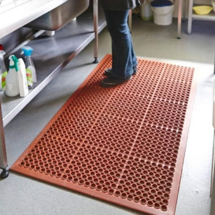 Barrier Group Oil Resistant Floor Mat 910 x 1520 x 10mm – Red - Barrier Group - Ramp Champ