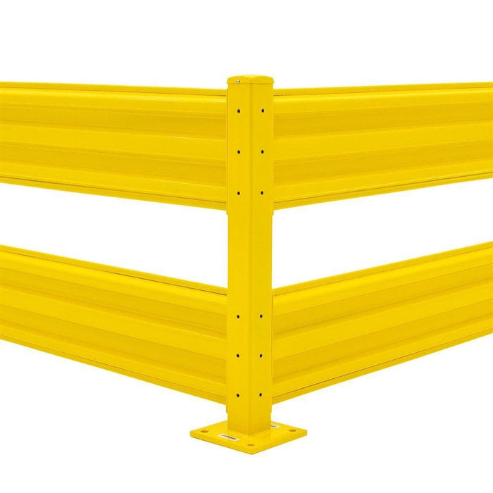 Barrier Group Rib-Rail Post w/ Fixings - Powder Coated Safety Yellow - Barrier Group - Ramp Champ