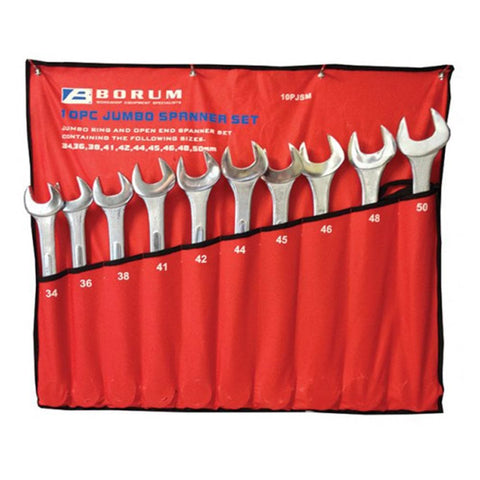 Borum Industrial Jumbo Imperial Spanner Set 10 piece