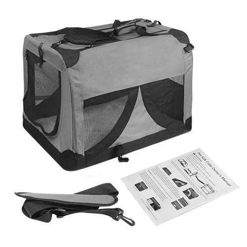 i.Pet Extra Large Portable Soft Pet Carrier- Grey
