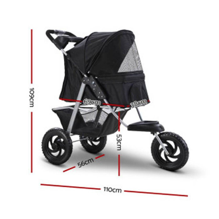 i.Pet Foldable Pet Stroller Dog Carrier Large - Black - Ramp Champ - Ramp Champ