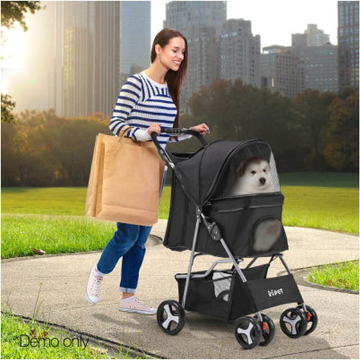 i.Pet 4-Wheel Foldable Pet Stroller - Black - Ramp Champ - Ramp Champ