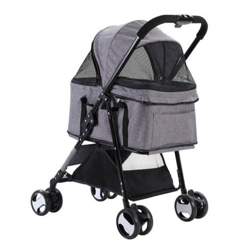 i.Pet 3-in-1 Foldable Pet Stroller Dog Carrier Mid Size - Grey - Ramp Champ - Ramp Champ