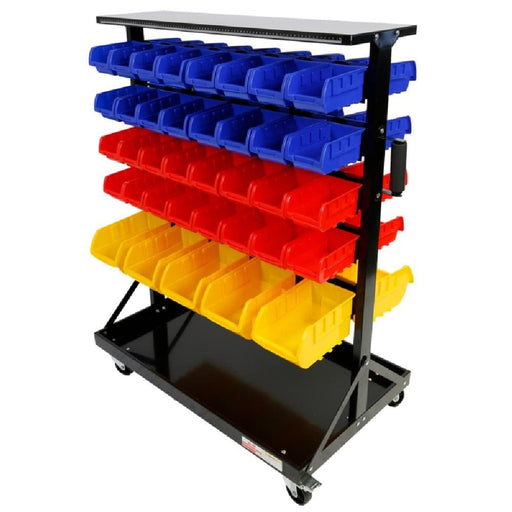 Red Label Economy Dual Side Parts Storage Bin Rack, 74 Bins