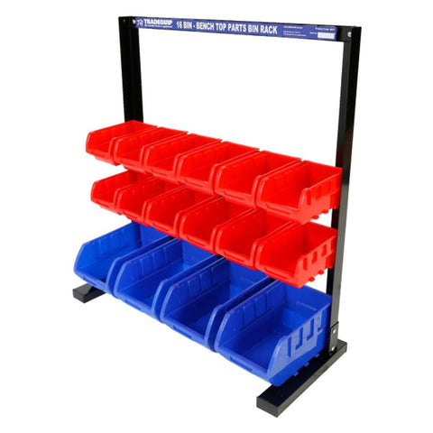 TradeQuip Parts Storage Bin Rack 16 Parts Bins & Magnetic Strip