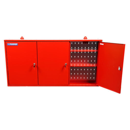 TradeQuip Steel Wall-Mounted 3 Door Tool Cabinet - Red