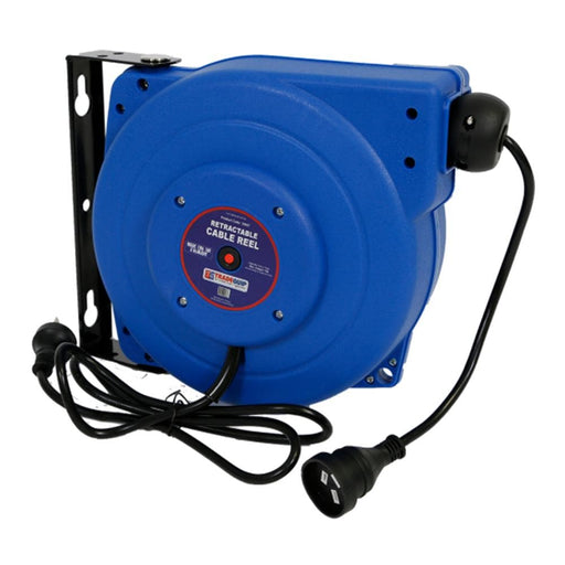 TradeQuip Wall-Mountable Retractable Power Cable Reel, 15m
