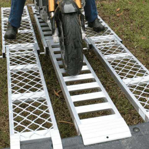 Whipps 3m x 340mm 500kg Aluminium Folding Loading Ramp with 2 x Side Walk Ramps - Whipps - Ramp Champ