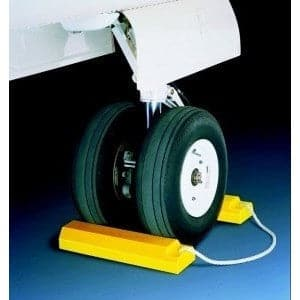 Checkers Aviation Wheel Chock 533mm - Roped Pair - Non Rubber Base - Checkers - Ramp Champ