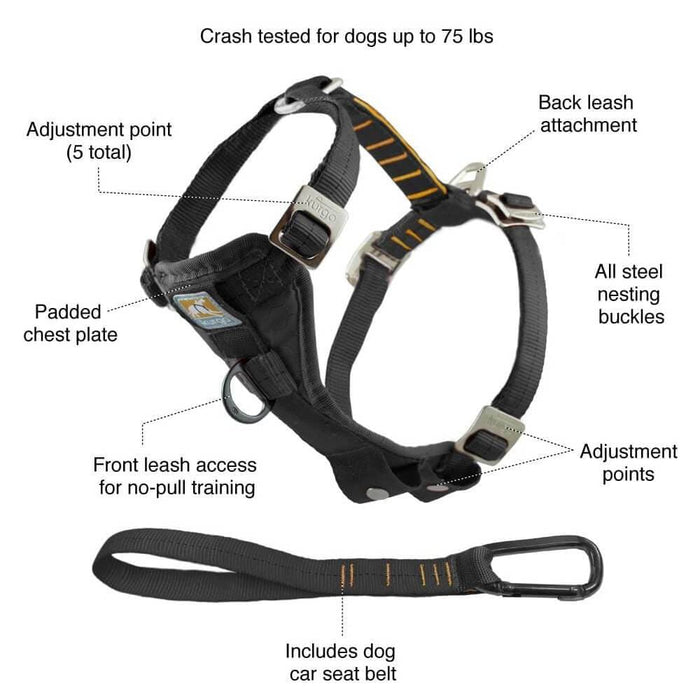 Kurgo® Tru-Fit Enhanced Strength Dog Car Harness - Black - Kurgo - Ramp Champ