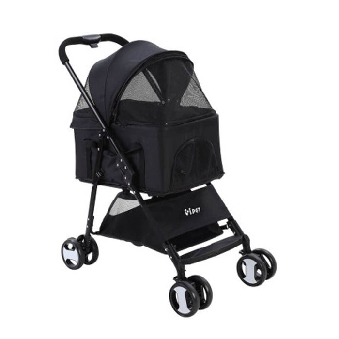 i.Pet 3-in-1 Foldable Pet Stroller Dog Carrier Mid Size - Black - Ramp Champ - Ramp Champ