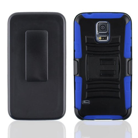 Samsung Galaxy S5 black PC + skin + clip holster stand combo